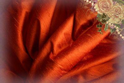 Flame Dupioni Silk