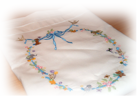 Embroidered Blue Ribbon Crib Sheet Set On Line Class